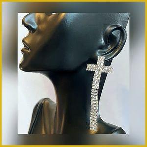 🏷 🆕 Noir Silver Cross Gem Earrings